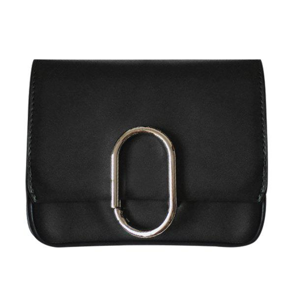 Retro Metal and Flap Design Women's Crossbody Bag - BLACK