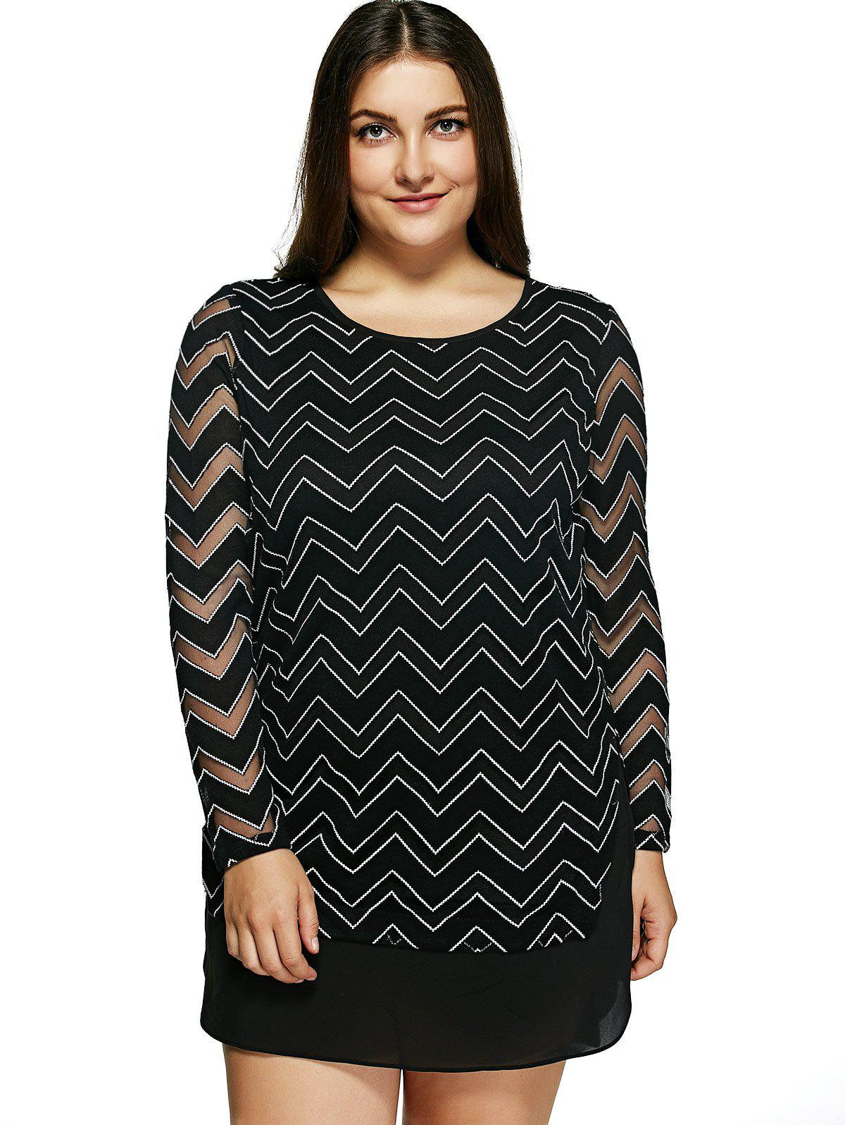 Oversized Trendy Chevron Print See-Through Dress - BLACK 6XL