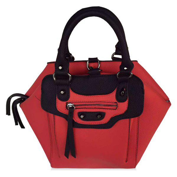 Stylish Front Zip and PU Leather Design Women's Tote Bag - RED