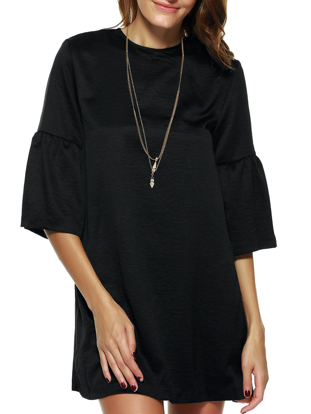 Elegant Cut Out Pure Color Flare Sleeve Shift Dress - BLACK 2XL