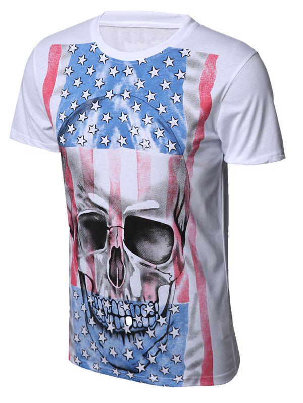 Skull Star and Stripe Print Round Neck Short Sleeve Men's T-Shirt