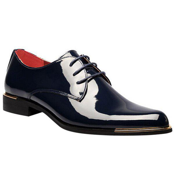 Trendy Patent Leather and Tie Up Design Men's Formal Shoes - DEEP BLUE 44