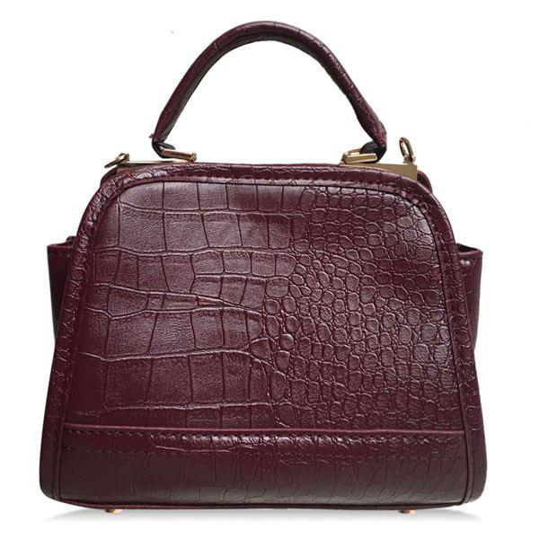 Vintage Stone Pattern and PU Leather Design Women's Tote Bag - RED BROWN