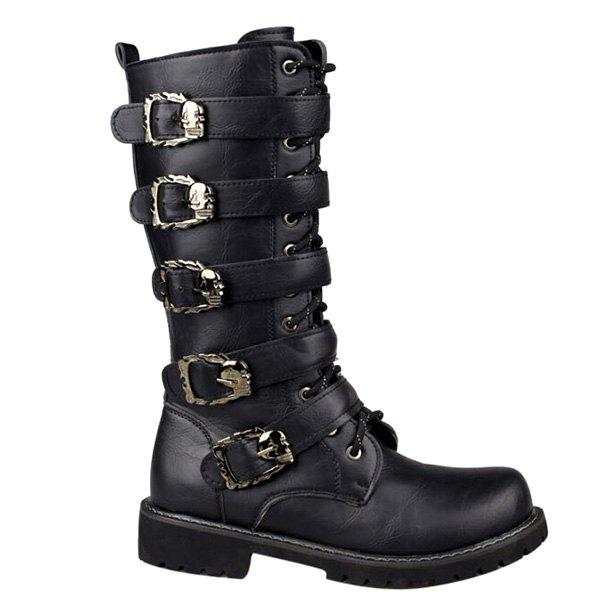 Stylish Black and Buckles Design Men's Boots