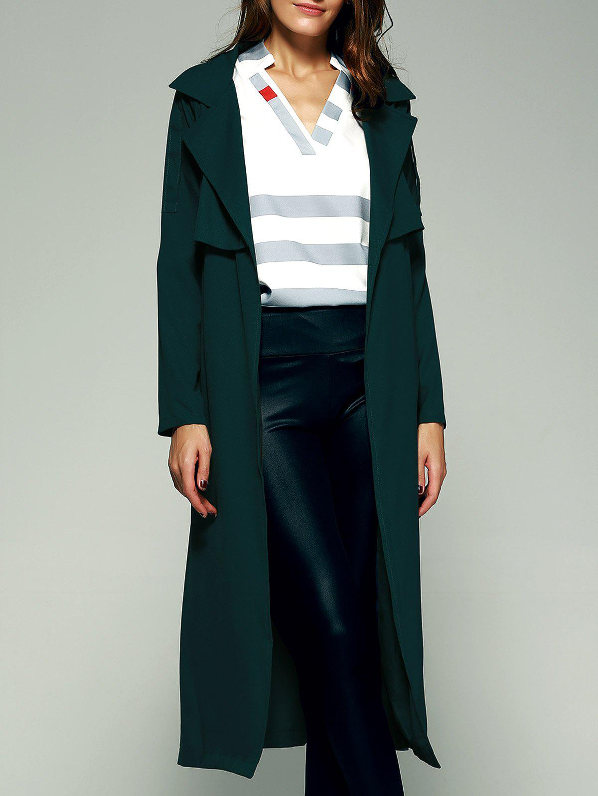 Elegant Belted Flounce Pure Color Maxi Wrap Long Trench Coat - BLACKISH GREEN XS