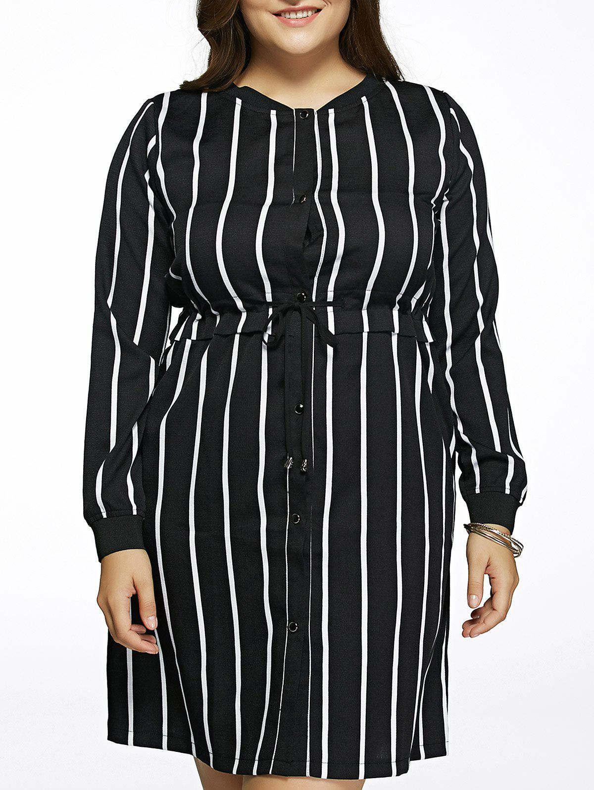 Oversized Chic Long Sleeve Drawstring Striped Dress