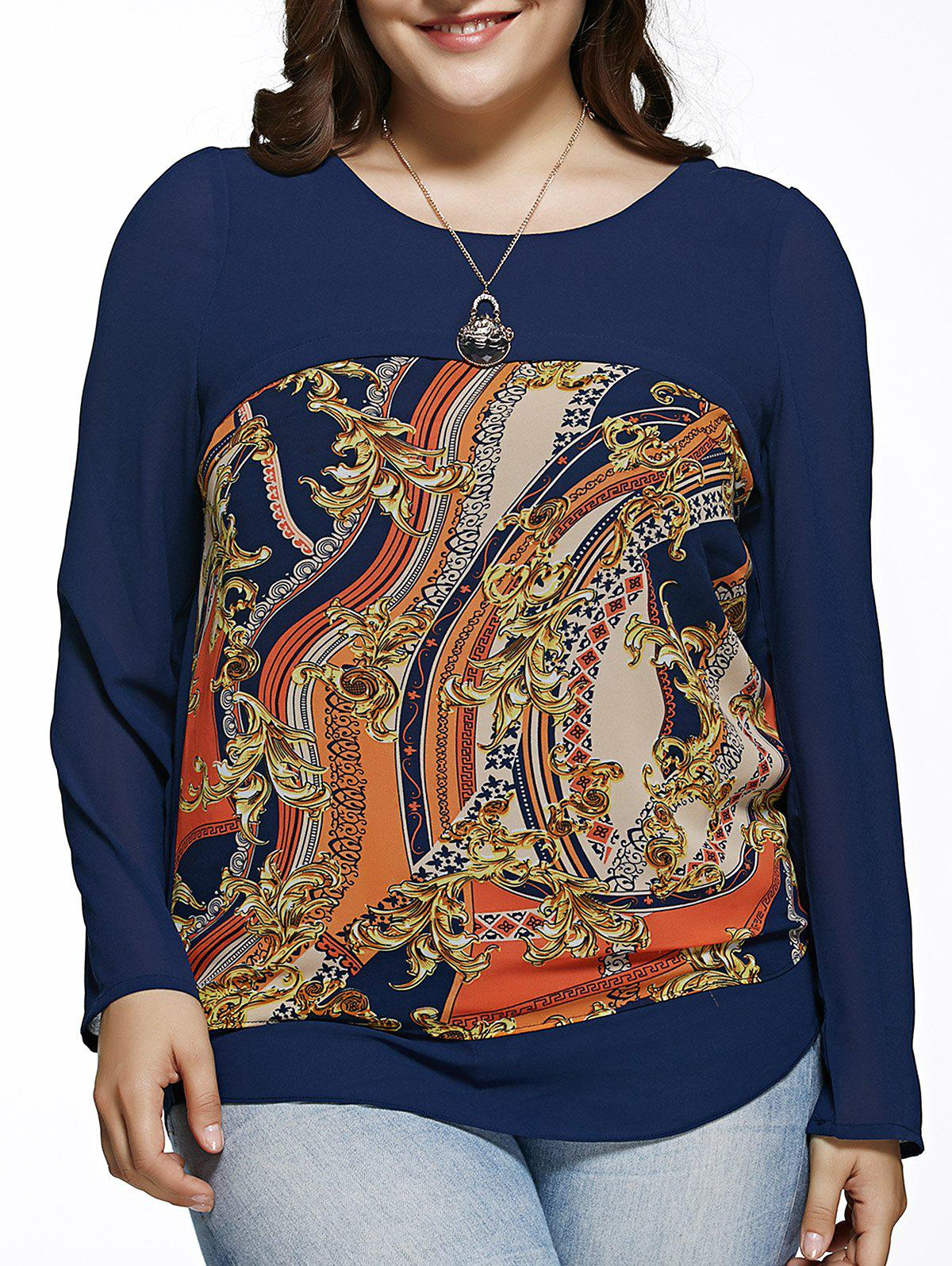 Oversized Chic Long Sleeve Abstract Print Blouse - BLUE 6XL