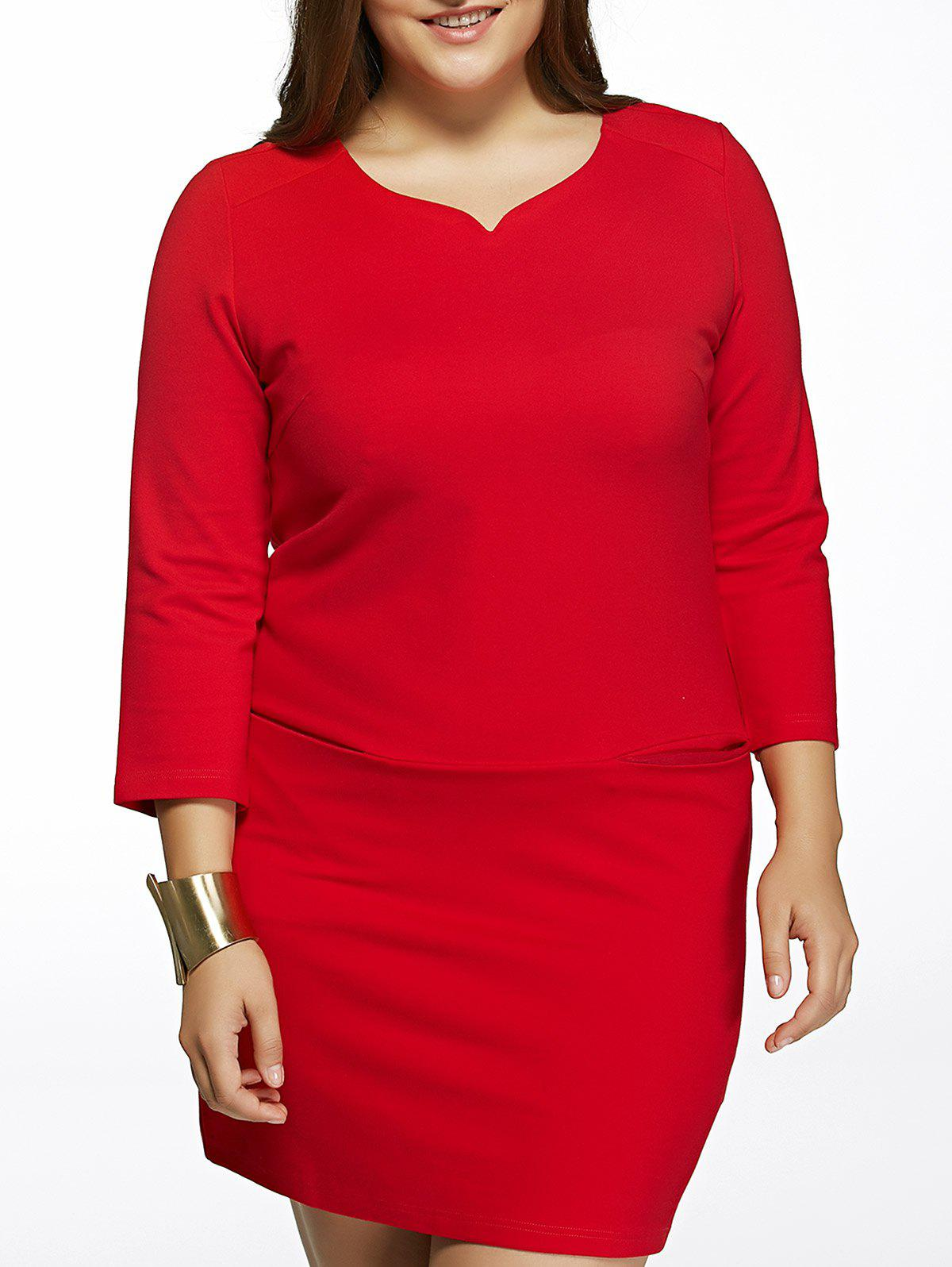 Oversized Elegant Vertical Pocket Pure Color Dress - RED 3XL