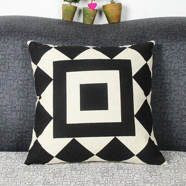 Mordern Style Mouldproof Geometric Square Diamond DIY Home Sofa Pillow Case - WHITE/BLACK