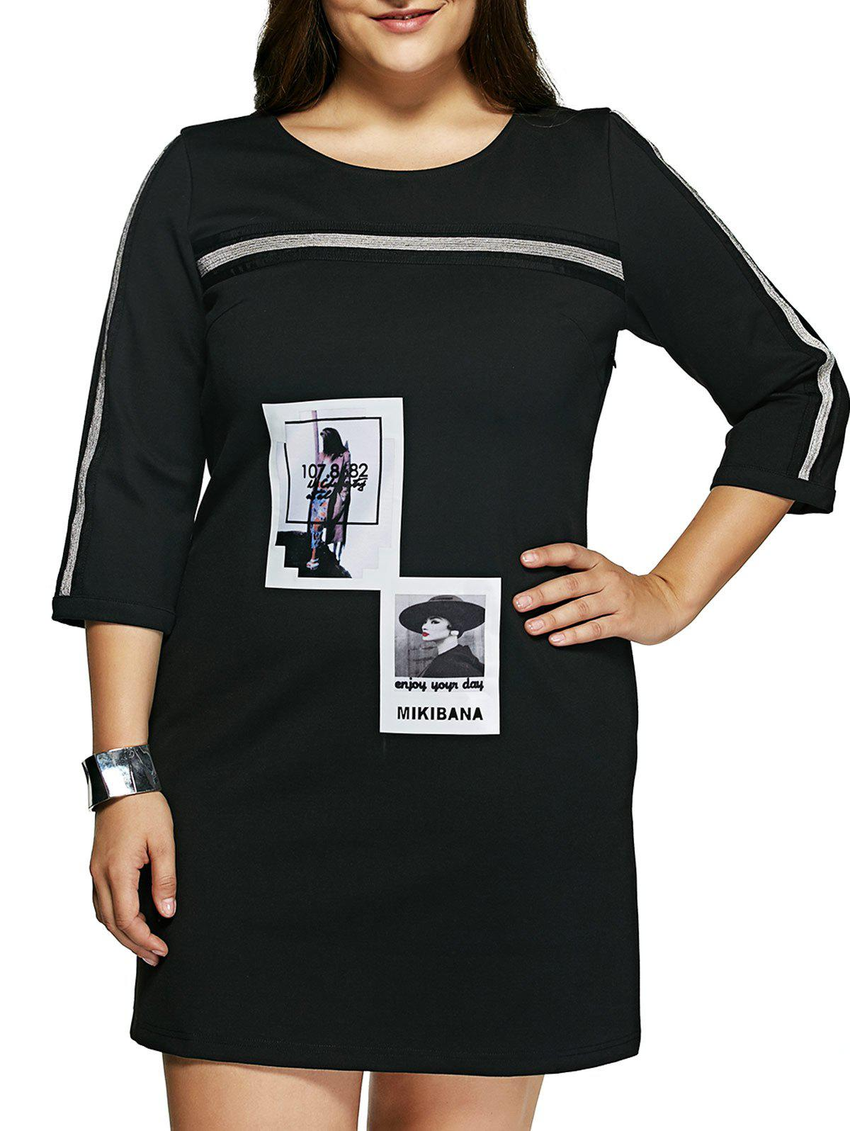 Plus Size Casual Beauty Print Shift Dress - BLACK 6XL