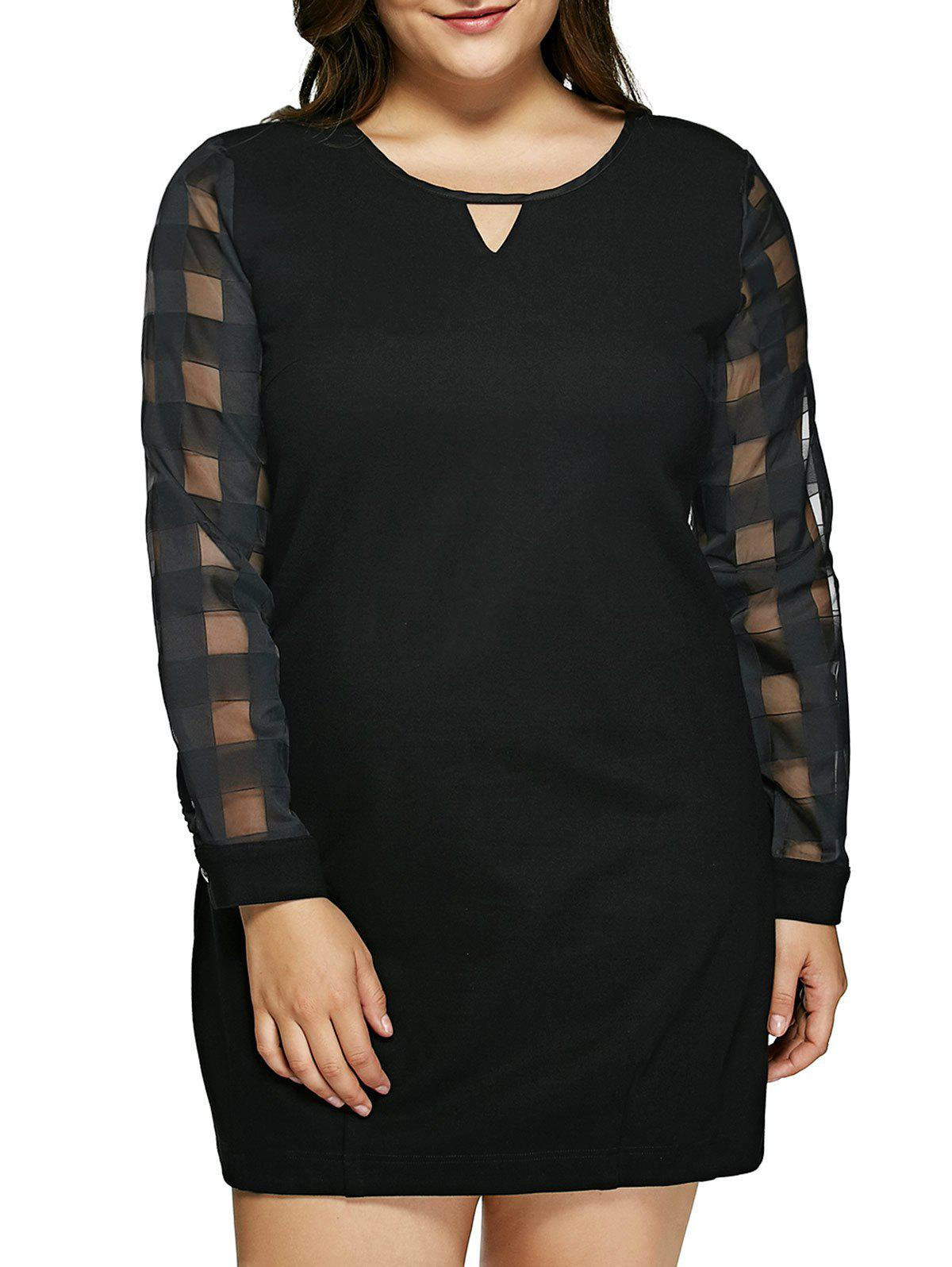 Plus Size Mesh Trim Keyhole Neck Dress - BLACK 6XL