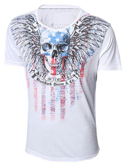 Skull and Feather Print Round Neck Short Sleeve Men's T-Shirt - WHITE 2XL