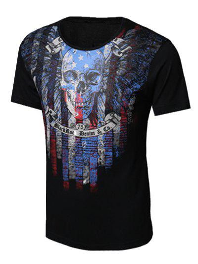 Skull and Feather Print Round Neck Short Sleeve Men's T-Shirt - BLACK XL