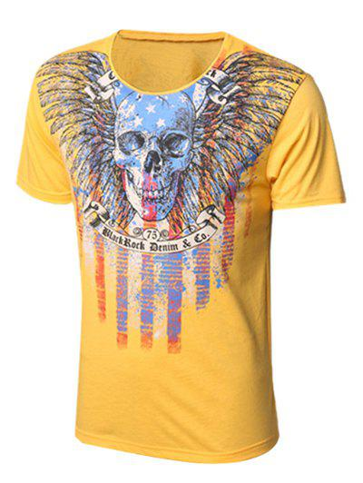 Skull and Feather Print Round Neck Short Sleeve Men's T-Shirt - YELLOW M