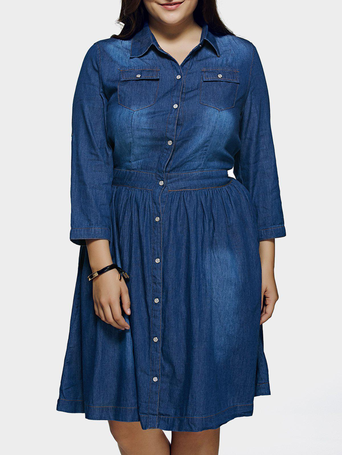 Plus Size Denim Longline Shirt Dress - DEEP BLUE 4XL