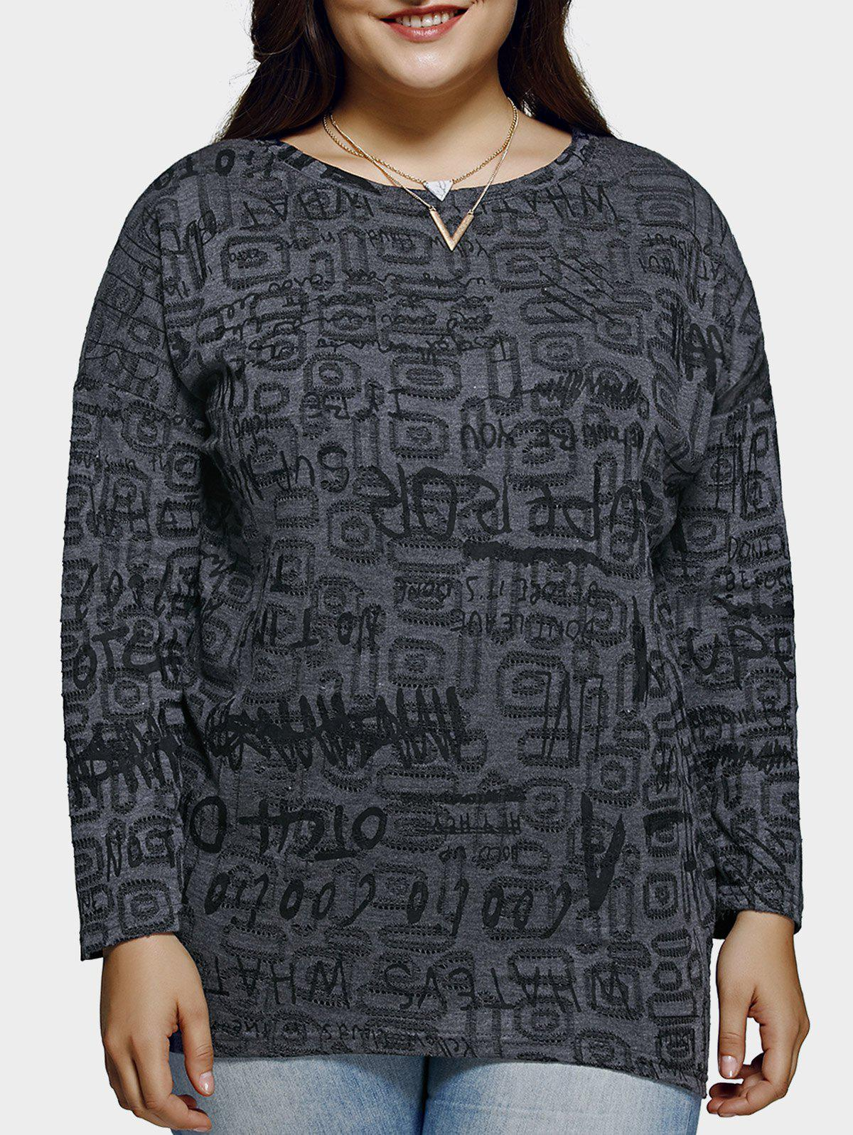 Plus Size Casual Letter Pattern Baggy Blouse - DEEP GRAY XL