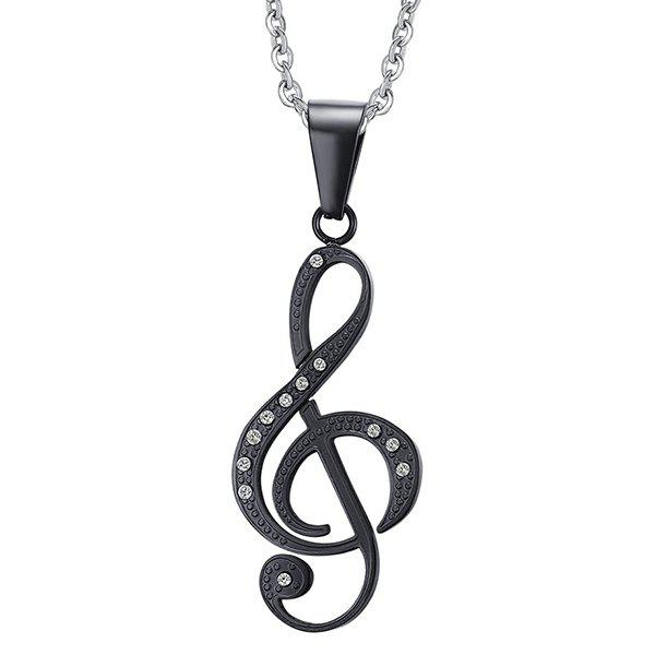 Chic Hollow Out Rhinestone Black Music Note Pendant Necklace For Men - BLACK