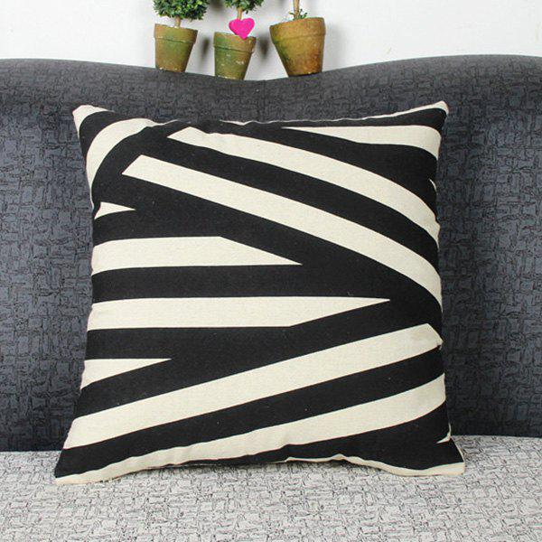 Geometric Stripe Linen Cushion Throw Pillow Case - WHITE/BLACK