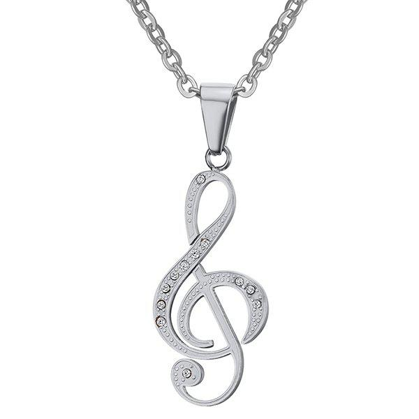 Rhinestone Music Note Hollowed Necklace