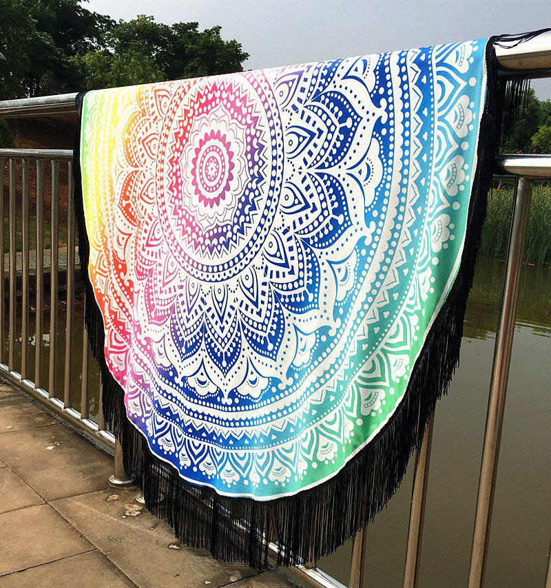 Stylish Bikini Swimwear Mandala Lotus Printed Long Fringe Round Beach Throw Scarf - COLORMIX
