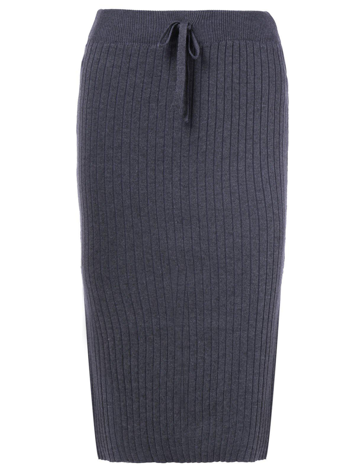 Stylish Elastic Waist Knited SkirtWomen<br><br><br>Size: ONE SIZE(FIT SIZE XS TO M)<br>Color: GRAY