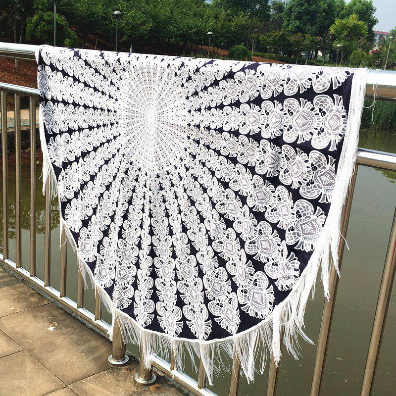Stylish Bikini Swimwear Mandala Printed Tasseled Tablecloth Round Beach Throw Scarf sunbath mandala lotus beach throw cover