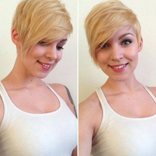Towheaded Straight Side Bang Capless Short Layered Human Hair Wig For Women - BLONDE