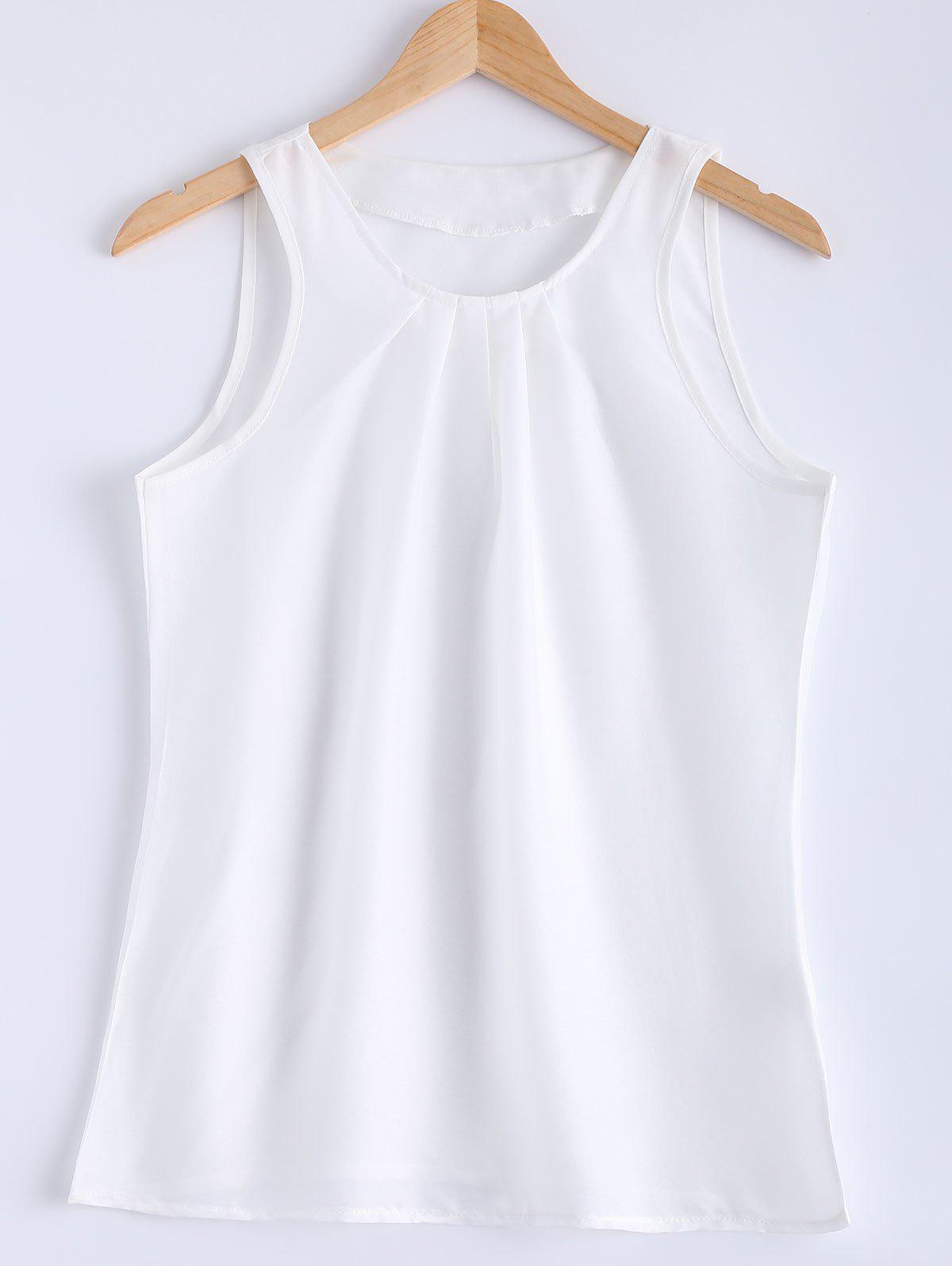 Stylish Sleeveless Round Collar Pure Color Women's Tank Top - WHITE L