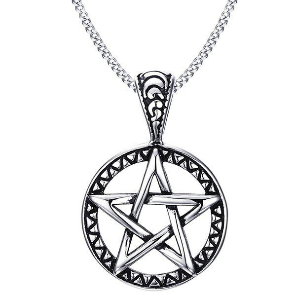 Star Hollowed Round Pendnat Necklace - SILVER GRAY