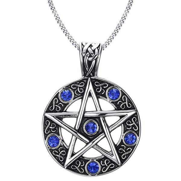 Simple Embossed Round Star Blue Rhinestone Pendant Necklace For Men