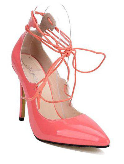 Stylish Patent Leather and Lace-Up Design Women's Pumps - PINK 39