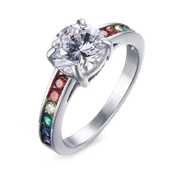 Trendy Multicolored Rhinestone Silver Plated Ring For Women