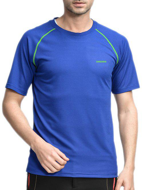 Round Neck Linellae Design Quick-Dry Short Sleeve Men's T-Shirt - SAPPHIRE BLUE 5XL