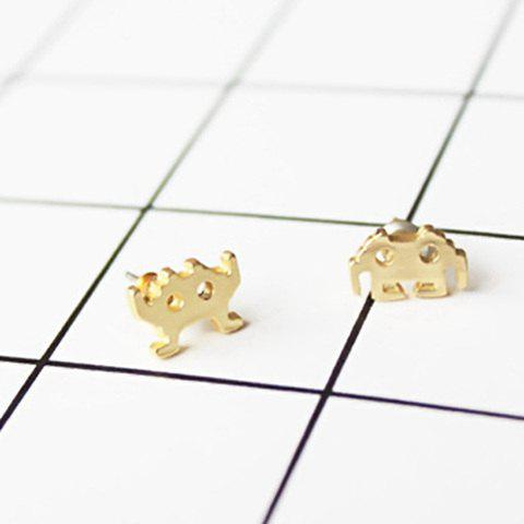 Alloy Asymmetric Little Monster Earrings - GOLDEN