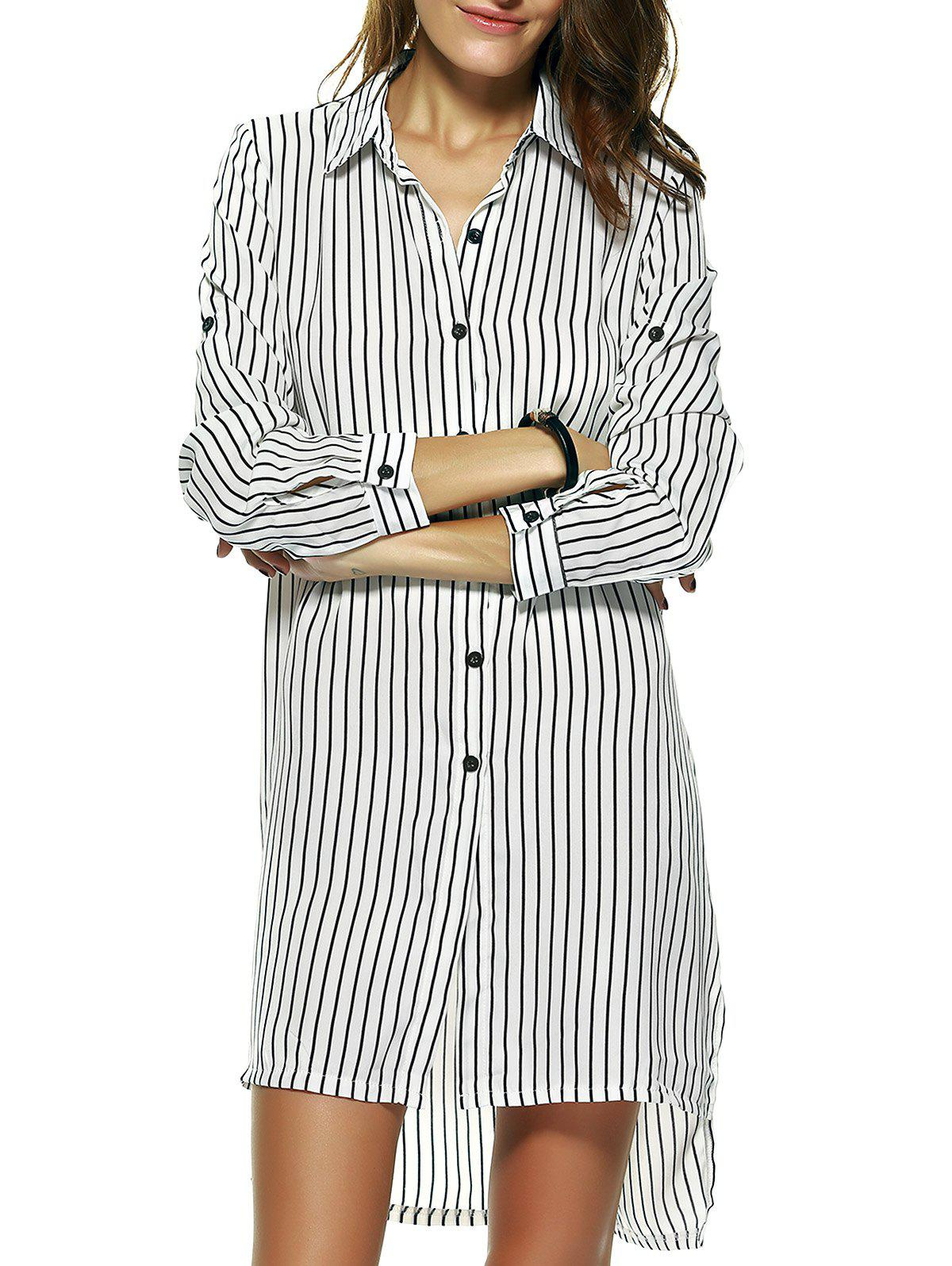 Brief Women's Striped Side Slit Shirt Dress - XL STRIPE