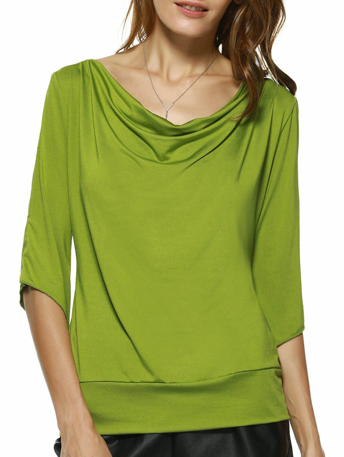 Charming Cowl Neck Solid Color Women's T-Shirt - GREEN XL