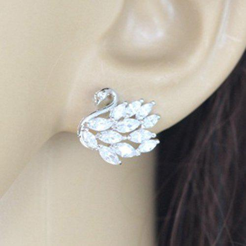 Pair of Rhinestone Silver Plated Swan Earrings - SILVER