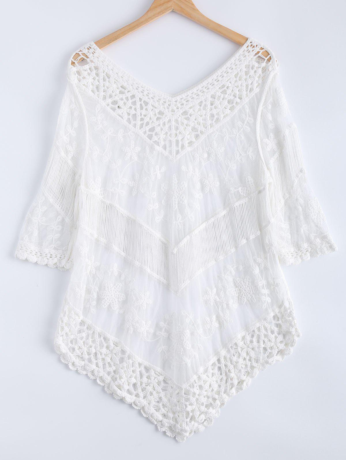 Crochet V Neck Lace 3/4 Sleeve DressWomen<br><br><br>Size: ONE SIZE(FIT SIZE XS TO M)<br>Color: WHITE