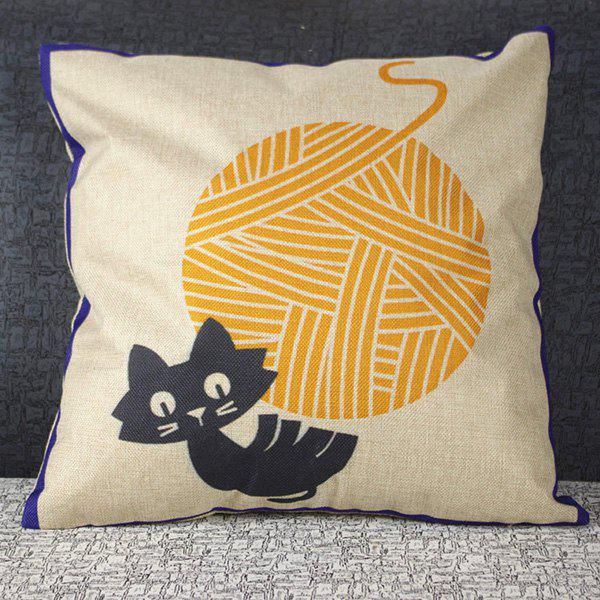 Hot Sale Cute Mouldproof Cartoon Wool Cat Pattern Pillow Case - COLORMIX