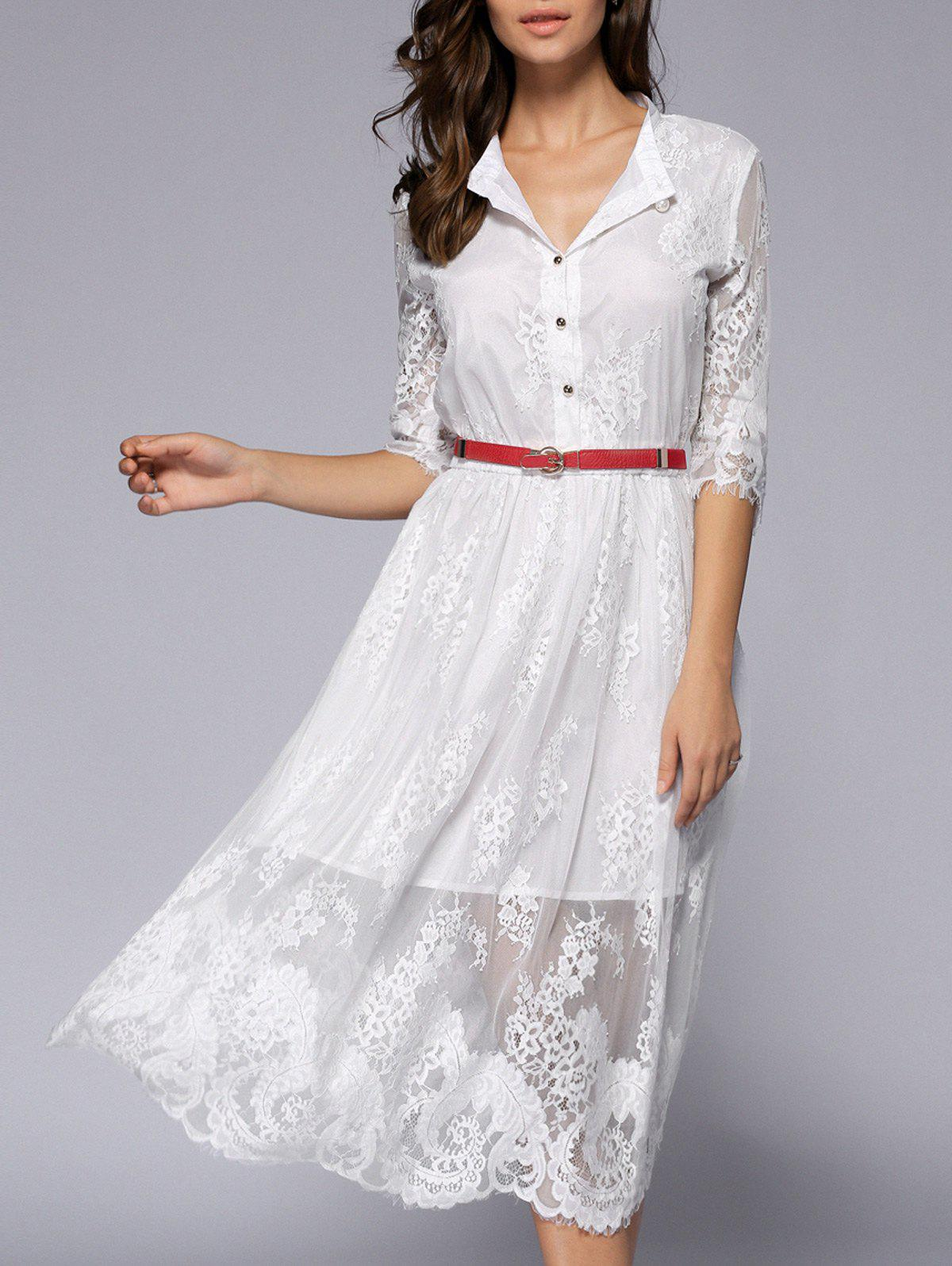 Lacework See-Through Pure Color Button Long Dress - WHITE XL