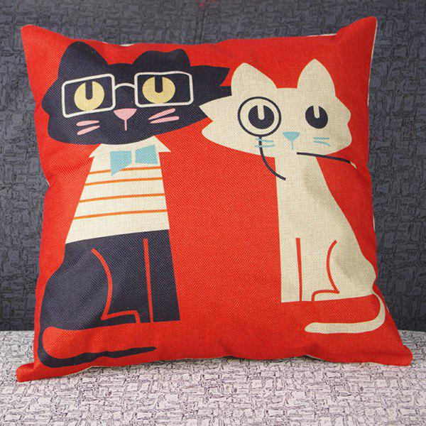 Hot Sale Cute Mouldproof Cartoon Two kitten Pattern Pillow Case - COLORMIX