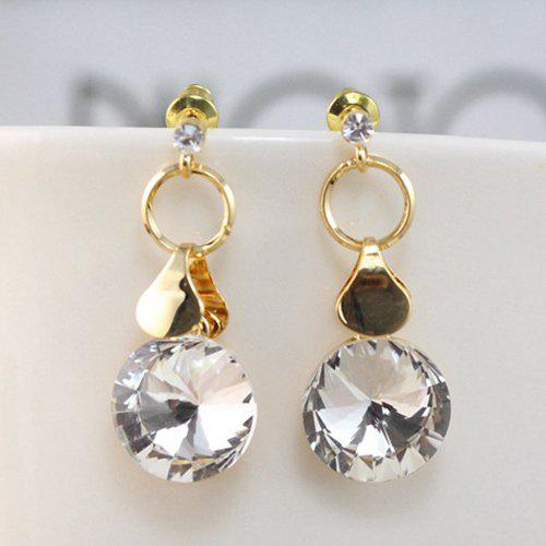 Pair of Trendy Gold Plated Rhinestone Drop Earrings For Women -  PLATINUM