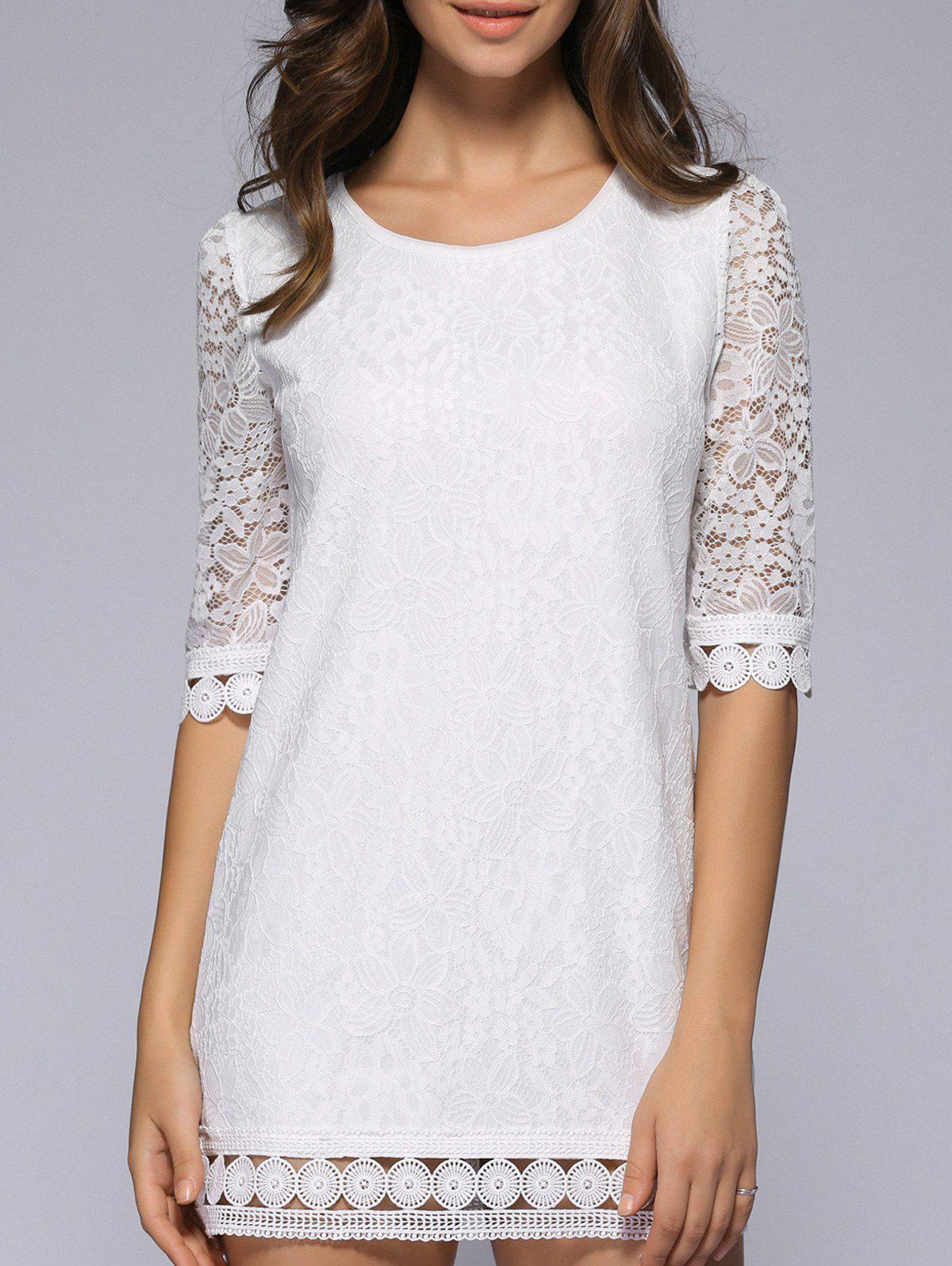 Hollow Out See-Through Pure Color Crochet Dress - WHITE 2XL