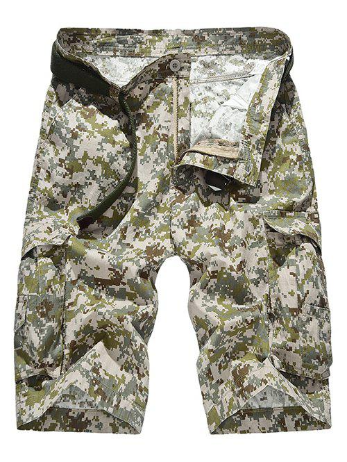 Camouflage Pattern Pockets Design Zipper Fly Straight Leg Men's Shorts - KHAKI 40