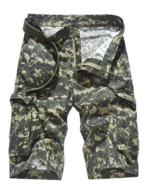 Camouflage Pattern Pockets Design Zipper Fly Straight Leg Men's Shorts ARMY GREEN