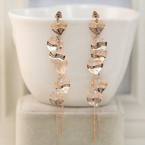 Pair of Fashion Filigree Rose Gold Leaf Shape Longline Earrings For Women - ROSE GOLD