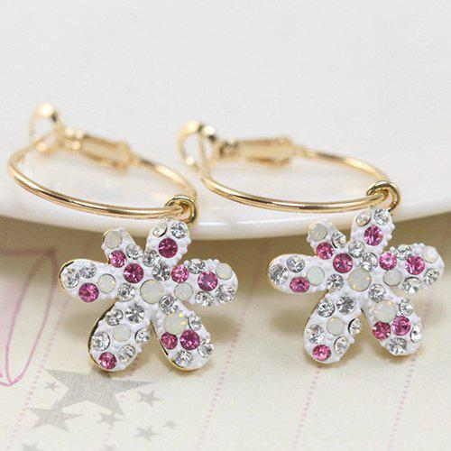 Pair of Delicate Flower Rhinestone Charming Earrings For Women - GOLDEN