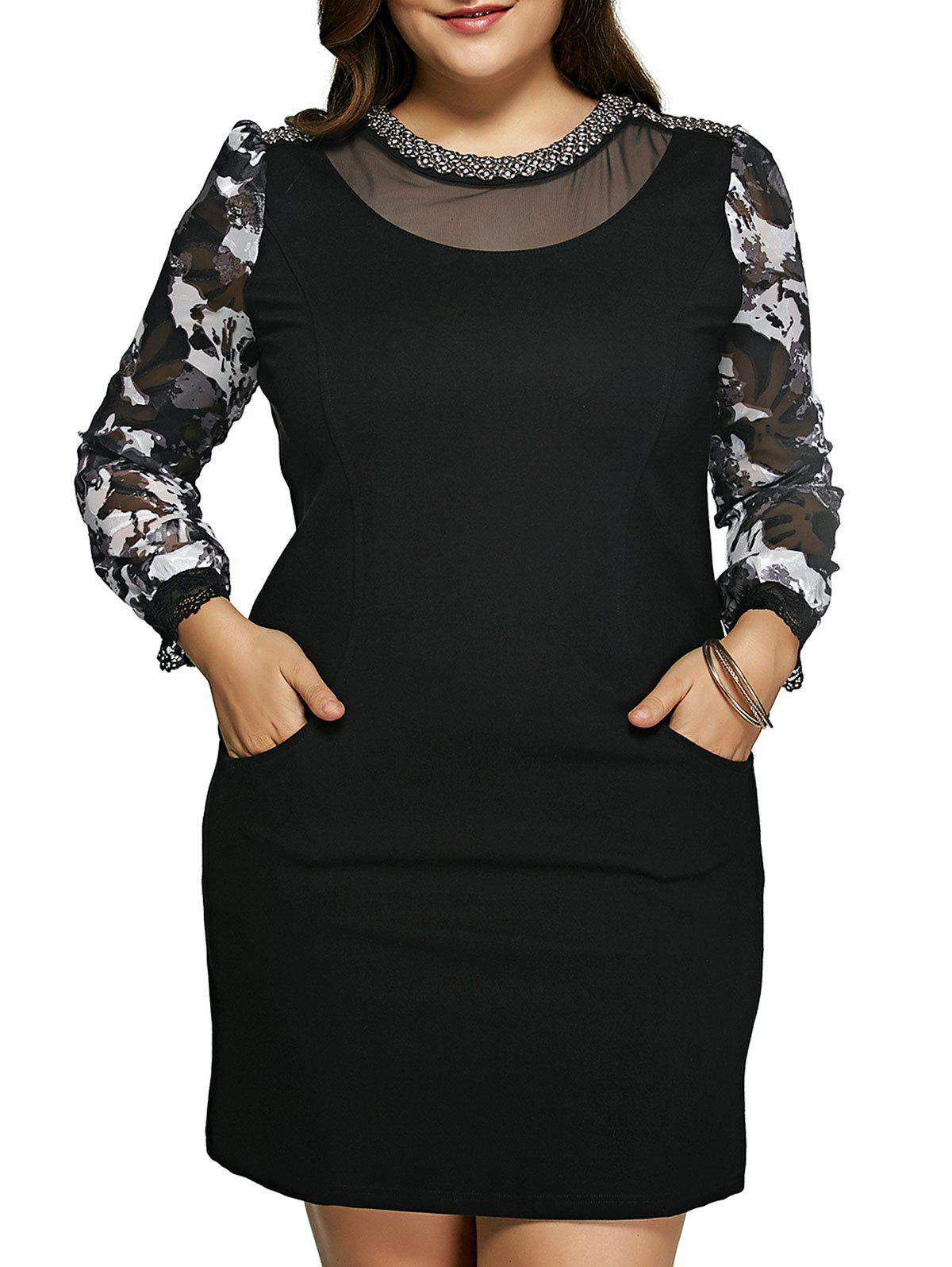 Plus Size Elegant Rhinestone Embellished Dress - BLACK 6XL