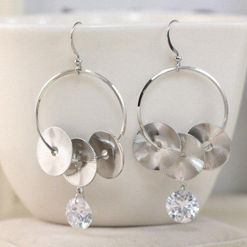 Pair of Stylish Cut Out Carved Disc Rhinestone Earrings For Women
