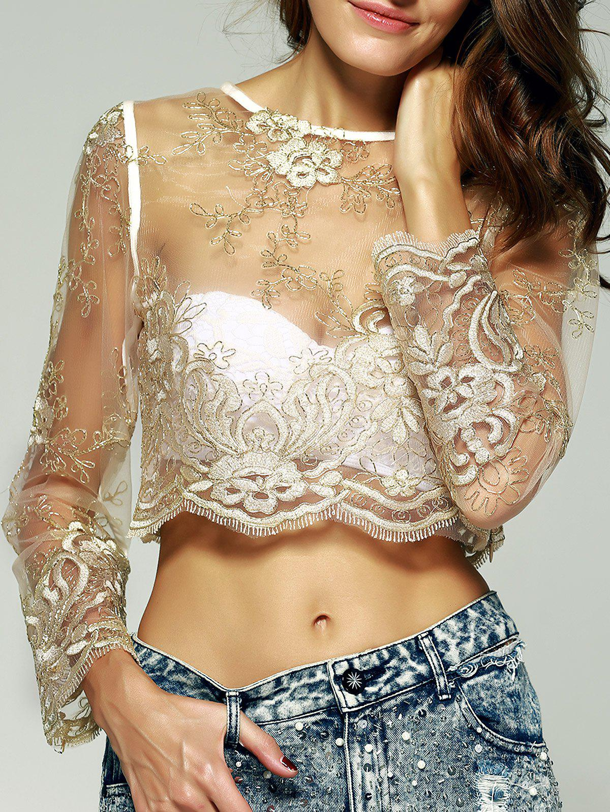 Graceful Women's Embroidered See-Through Crop Top - GOLDEN M